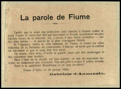La parole de Fiume  / Gabriele d'Annunzio