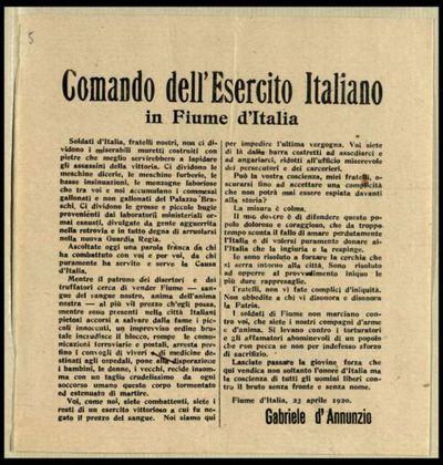 Comando dell'Esercito italiano in Fiume d'Italia  / Gabriele d'Annunzio