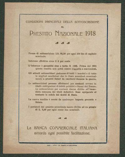 Condizioni principali della sottoscrizione al prestito nazionale 1918  / Banca Commerciale Italiana