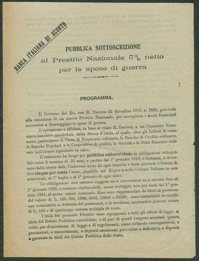 Pubblica sottoscrizione al Prestito Nazionale 5% netto per le spese di guerra  / Banca Italiana di Sconto