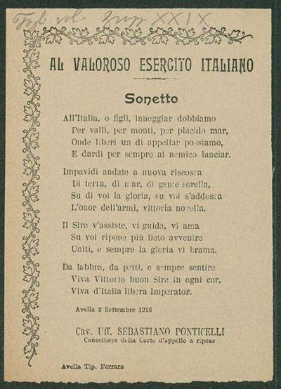 Al valoroso esercito italiano  : sonetto  / Cav. Uff. Sebastiano Ponticelli, Cancelliere della Corte d'Appello a riposo