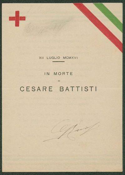 In morte di Cesare Battisti  : 12. luglio 1916  / Giuseppe Ravasi