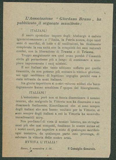 L'Associazione Giordano Bruno ha pubblicato il seguente manifesto