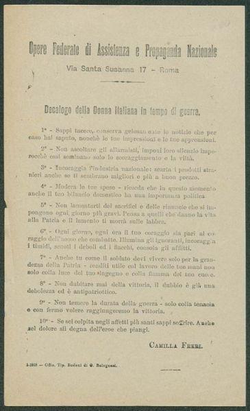 Decalogo della donna italiana in tempo di guerra  / Opere Federate di Assistenza e Propaganda Nazionale