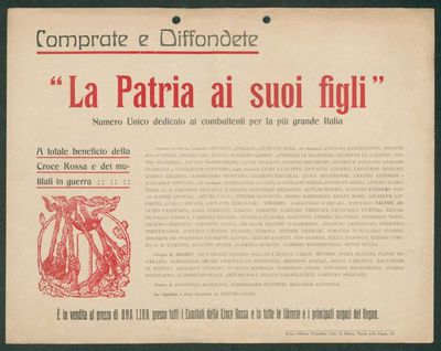 Comprate e diffondete La Patria ai suoi figli numero unico dedicato ai combattenti per la più grande Italia
