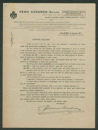 Palermo, 11 agosto 1917  / Remo Sandron Editore