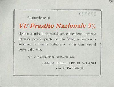 Sottoscrivere al 6. Prestito Nazionale 5% significa sentire il proprio dovere ... / Banca Popolare di Milano