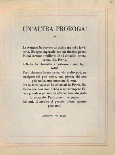Un' altra proroga! / Credito Italiano