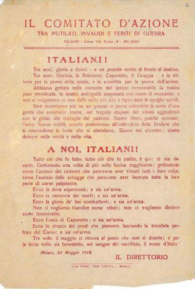 Italiani! : Tre anni: glorie e dolori / Comitato d'azione tra mutilati, invalidi e feriti di guerra