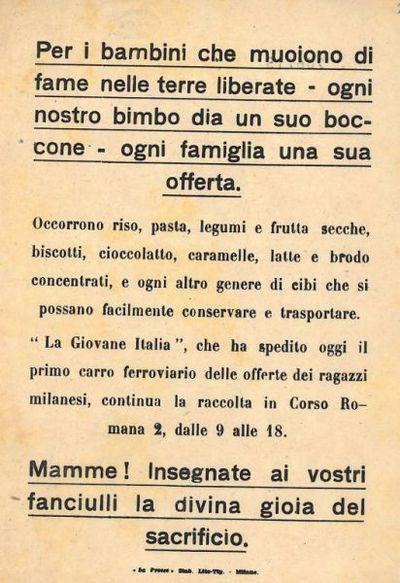 Per i bambini che muoiono di fame nelle terre liberate / La Giovane Italia