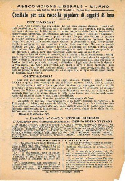 Comitato per una raccolta popolare di oggetti di lana / Associazione liberale
