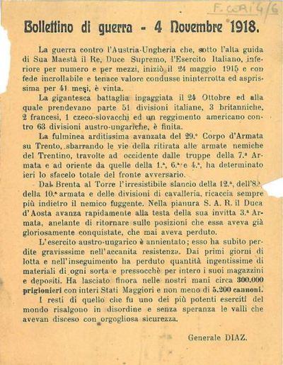Bollettino di guerra, 4 novembre 1918 / Generale Diaz