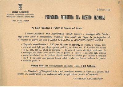 Propaganda patriottica del prestito nazionale / Scuole elementari maschili e femminili di Porta Nuova