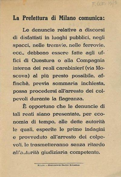 La Prefettura di Milano comunica