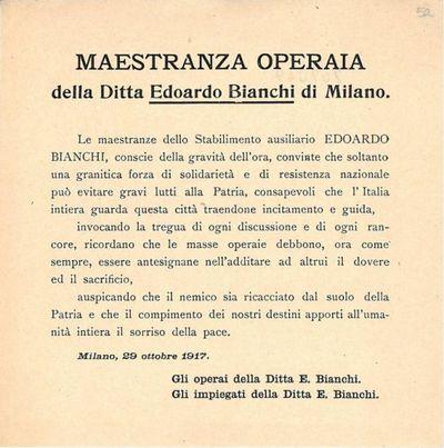Maestranza operaia della ditta Edoardo Bianchi di Milano
