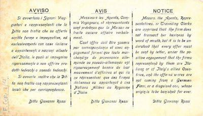 Avviso : Avis : Notice / Ditta Giovanni Rossi