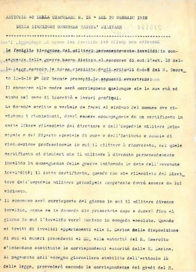 Articolo 48 della Circolare n. 16 del 10 gennaio 1918 della Direzione Generale Sanità Militare