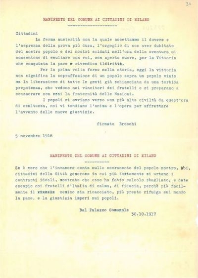 Manifesto del Comune ai cittadini di Milano