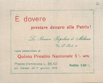 E' dovere prestare denaro alla Patria! / Banca popolare di Milano