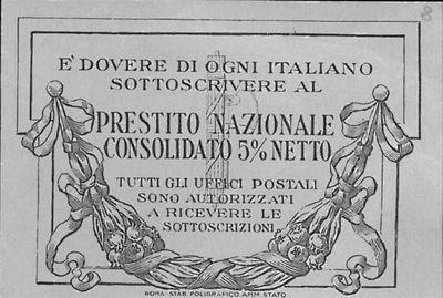 E' dovere di ogni italiano sottoscrivere al prestito nazionale consolidato