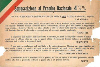 Sottoscrizione al prestito nazionale 4,5 % / Credito Italiano
