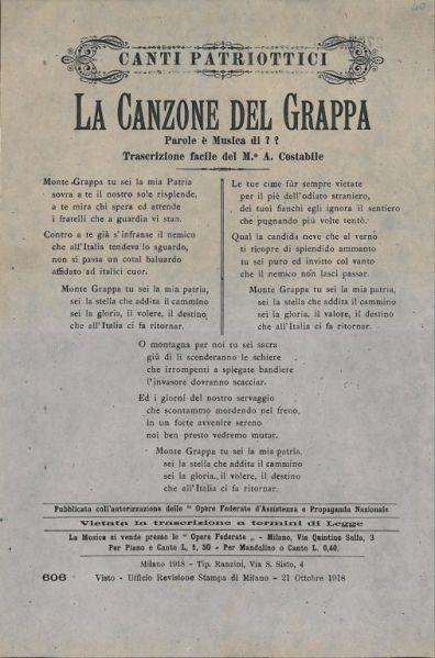La canzone del Grappa / trascrizione facile del m. A. Costabile