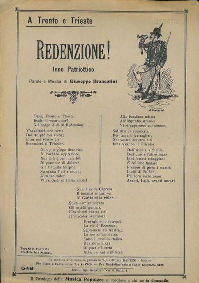 Redenzione! : inno patriottico / parole e musica di Giuseppe Brancolini