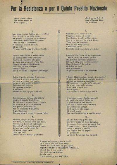 Per la Resistenza e per il quinto prestito nazionale : strofe cantabili sull'aria degli stornelli romani del Sor Canapa scritte da un ferito degente all'Ospedale Comasina di Milano