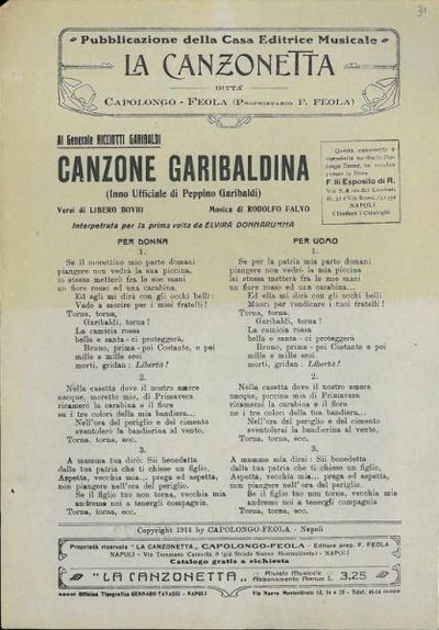 Canzone garibaldina : inno ufficiale di Peppino Garibaldi / versi di Libero Bovio ; musica di Rodolfo Falvo