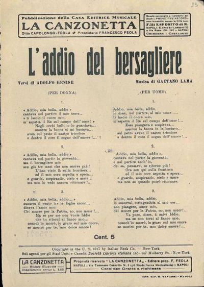 L' addio del bersagliere / versi di Adolfo Genise ; musica di Gaetano Lama