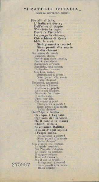 Inno di Garibaldi . Fratelli d'Italia / Luigi Mercantini