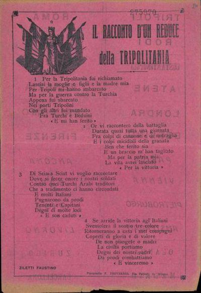 Il racconto d'un reduce della Tripolitania / Ziletti Faustino