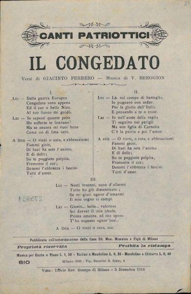 Il congedato / versi di Giacinto Ferrero ; musica di V. Breggion