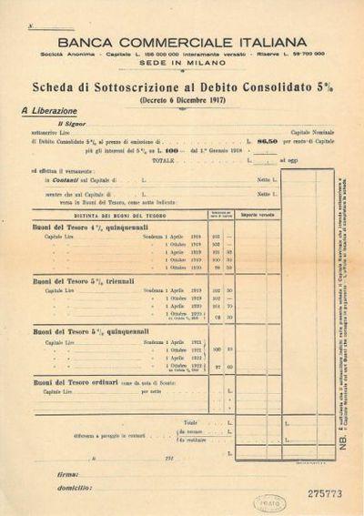 Scheda di sottoscrizione al debito consolidato 5 % (decreto 6 dicembre 1917) / Banca Commerciale Italiana