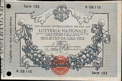 Lotteria nazionale : approvata con Leggi 22 Dicembre 1904 n.605 e... : Biglietto da lire due