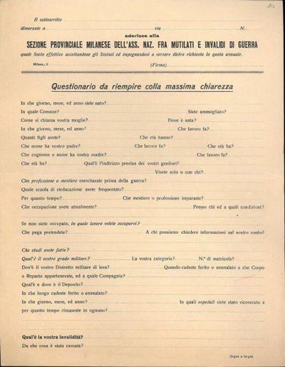 Questionario da riempire colla massima chiarezza / Sezione provinciale milanese dell'Ass. Naz. fra Mutilati e invalidi di guerra