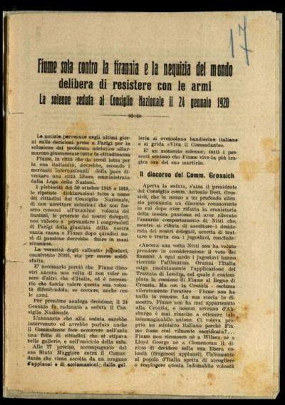 Fiume sola contro la tirannia e la nequizia del mondo delibera di resistere con le armi  : la solenne seduta al Consiglio nazionale il 24 gennaio 1920