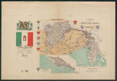 Carta delle nostre terre irredente  / Comitato nazionale tra il personale delle Ferrovie dello Stato per gli indumenti di lana pei soldati, Roma