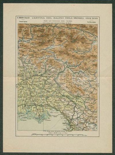 Cartina del Bacino dell'Isonzo per lo studio del clima  / R. Esercito italiano, Comando Supremo, Ufficio tecnico, Sez. Meteorologica