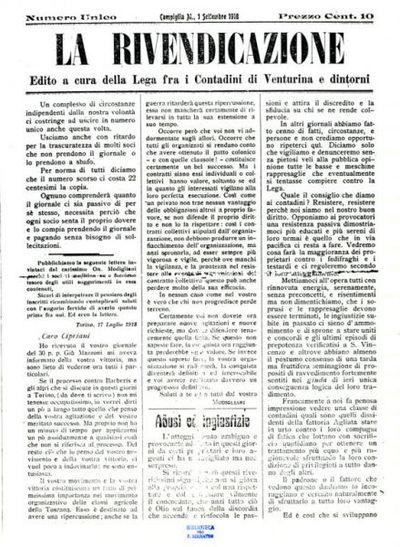 La Rivendicazione / edito a cura della Lega contadini di Venturina e dintorni