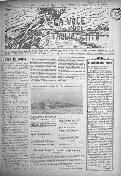 La voce del Tagliamento  : numero unico della 10. Armata anglo-italo-americana edito a cura dell'11. Corpo d'armata italiano