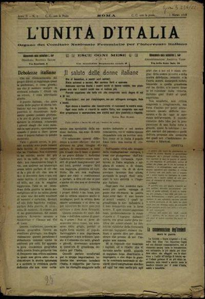 L'unità d'Italia  : organo del Comitato nazionale femminile per l'intervento italiano