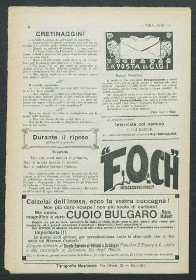Tira, Gigi! : giornale settimanale del Corpo d'armata territoriale di Palermo