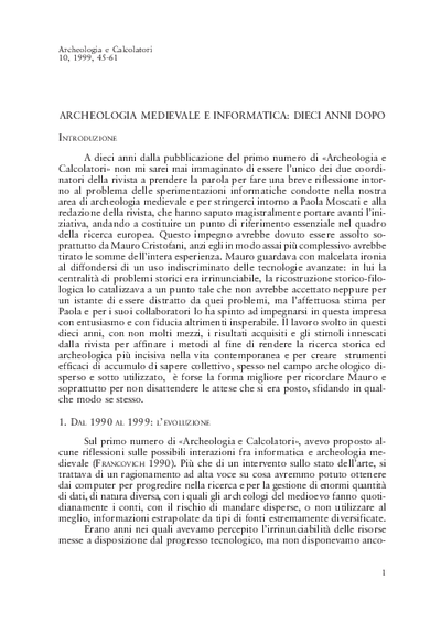 Archeologia medievale e informatica: dieci anni dopo