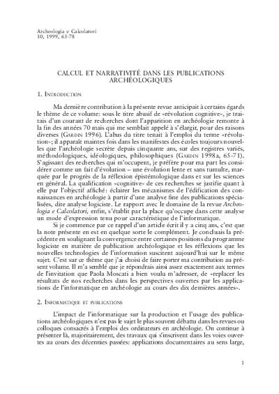Calcul et narrativé dans les publications archéologiques