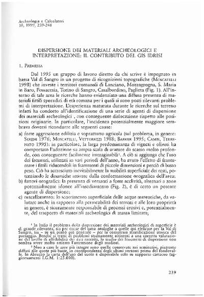 Dispersione dei materiali archeologici e interpretazione: il contributo del GIS Idrisi