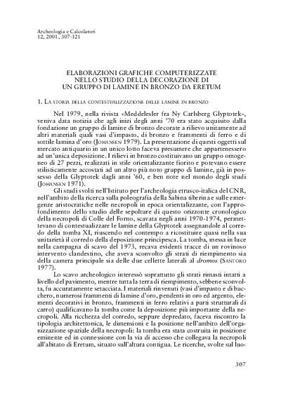 Elaborazioni grafiche computerizzate nello studio della decorazione di un gruppo di lamine in bronzo da Eretum
