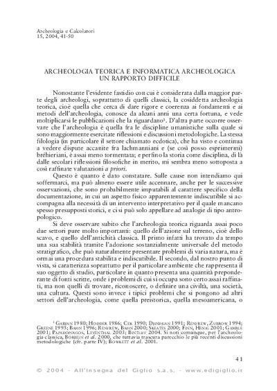 Archeologia teorica e informatica archeologica. Un rapporto difficile