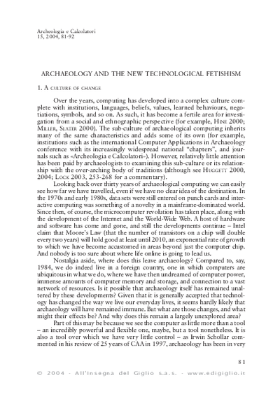 Archaeology and the new technological fetishism