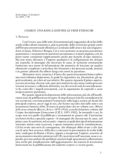 Charun. Una banca-dati per le urne etrusche, con Appendice di M. Novelli